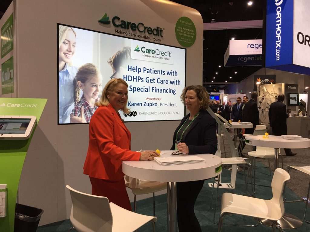 Karen delivers a session on high deductible health plans in the CareCredit booth at the American Academy of Orthopaedic Surgeons Annual Meeting in San Diego. CareCredit